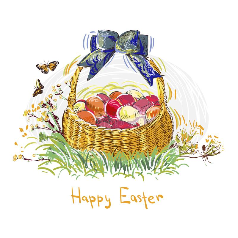 Cesta colorida de la flor del dise?o del estilo de la pintura del vector de los huevos de Pascua libre illustration
