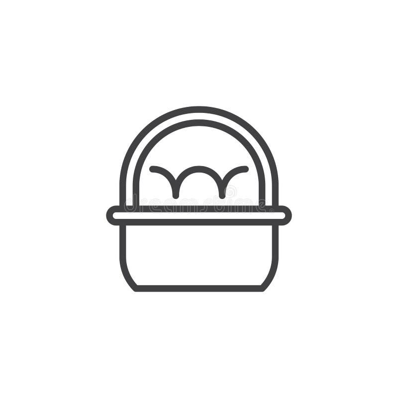 Cesta com ícone do esboço dos ovos da páscoa ilustração stock