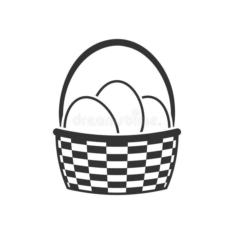 Cesta com ícone dos ovos da páscoa ilustração stock