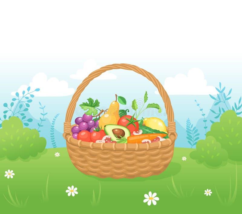 Cesta com alimento fresco ilustração stock