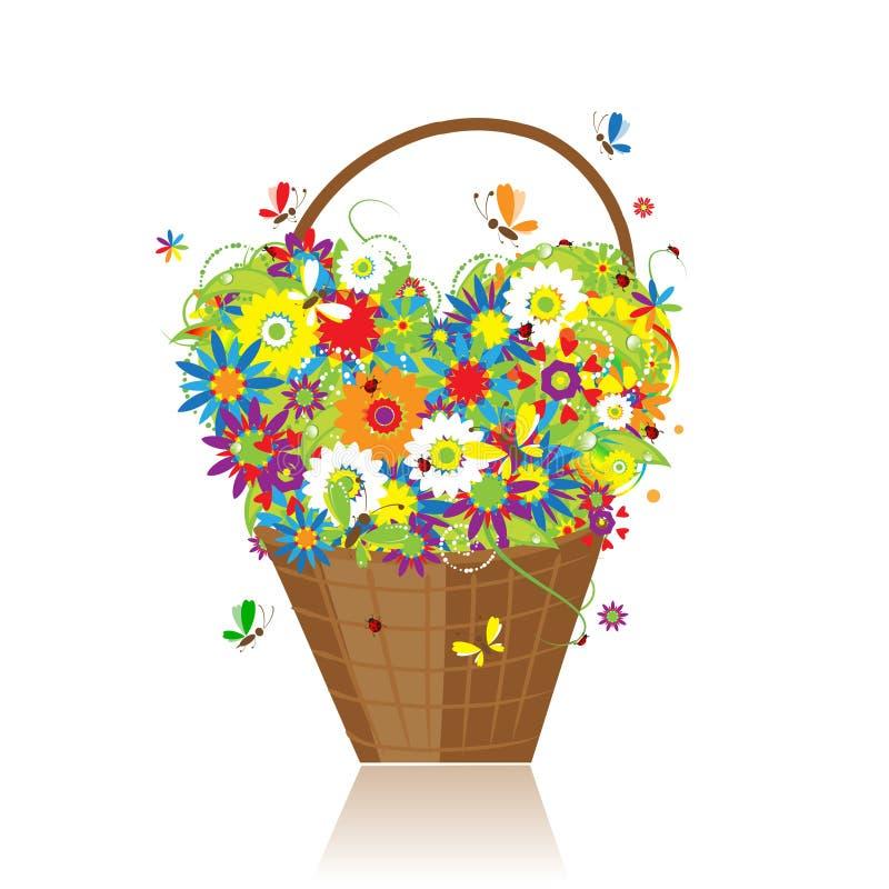 Cesta com as flores para seu projeto ilustração royalty free
