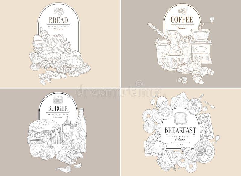 Cesta com bens de padaria e lugar para o texto Pães, nacos, bolos, rolos, croissant, bagels Projeto tirado mão do vetor ilustração stock