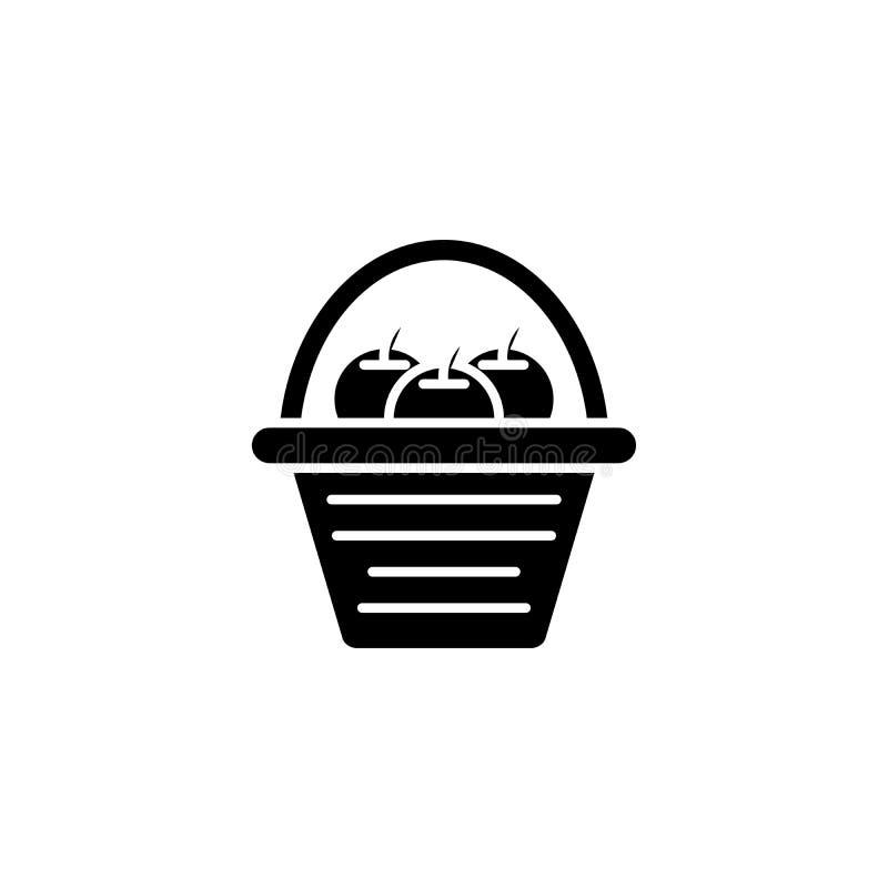 Cesta com conceito do ícone do preto do fruto Cesta com símbolo liso do vetor do fruto, sinal, ilustração ilustração do vetor
