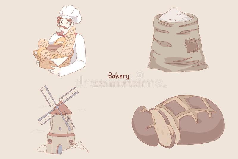 Cesta com cozimento delicioso, saco da terra arrendada do padeiro da farinha de trigo, moinho de vento, pão de centeio cortado, b ilustração stock