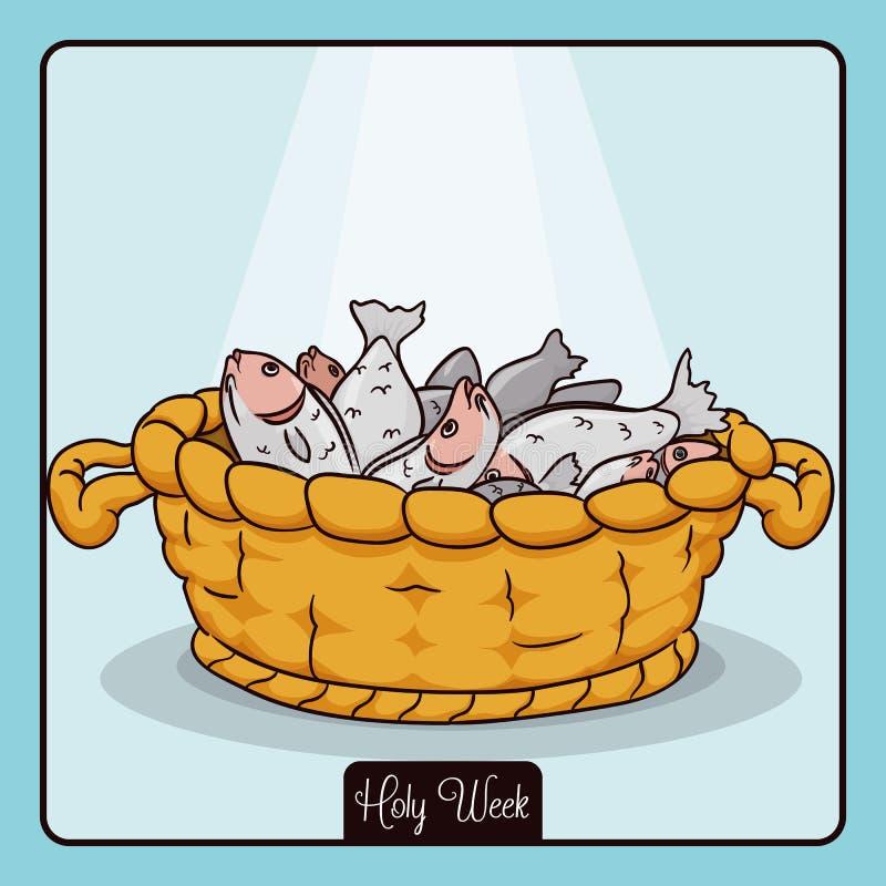 Cesta com os peixes para o milagre da multiplicação de Jesus, ilustração do vetor ilustração do vetor