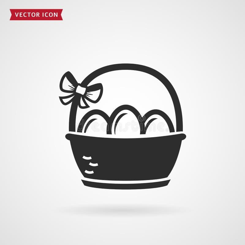 Cesta com ovos Ícone da Páscoa ilustração stock