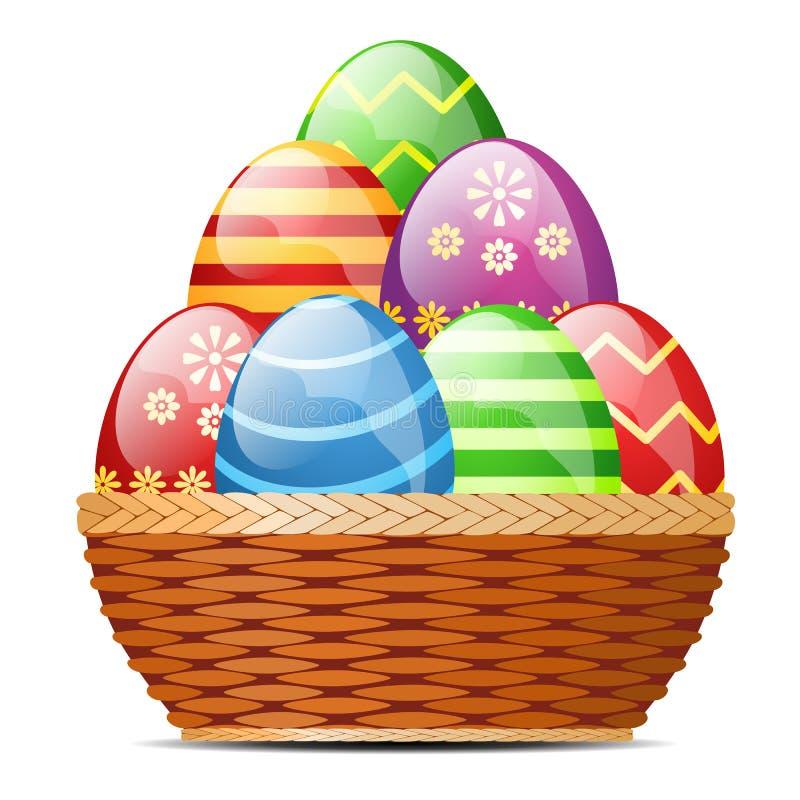 Cesta com ovos da páscoa ilustração stock