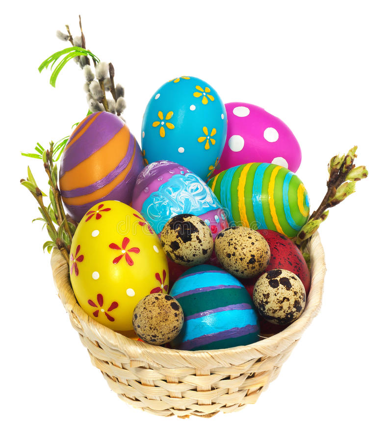 Cesta com ovos da páscoa e amentilhos imagem de stock royalty free