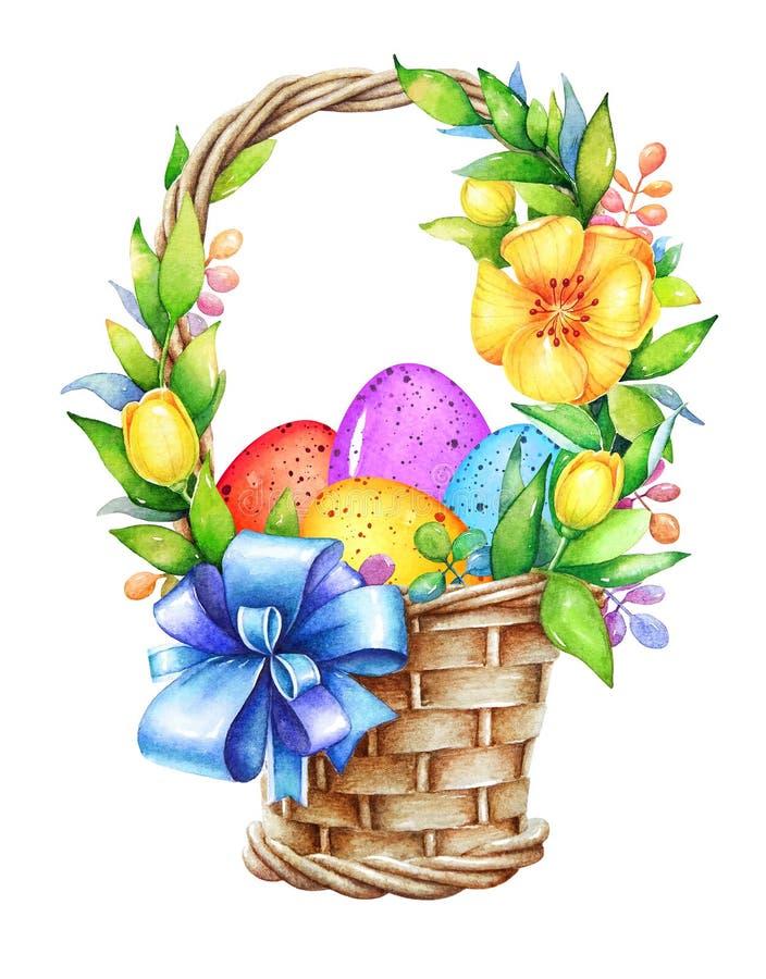 Cesta com ovos da páscoa e flores ilustração royalty free