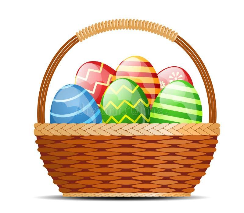Cesta com ovos de Easter ilustração do vetor