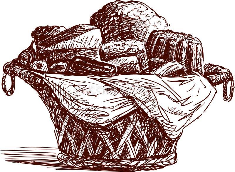 Cesta com pastelarias ilustração do vetor