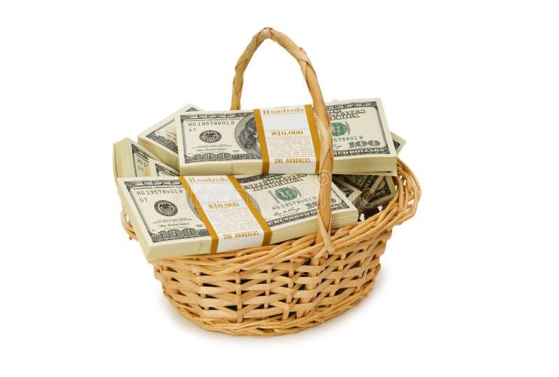 A cesta completamente dos dólares isolou-se imagens de stock