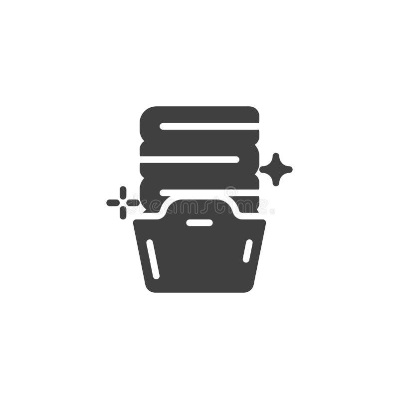 Cesta con el icono doblado del vector de las toallas stock de ilustración