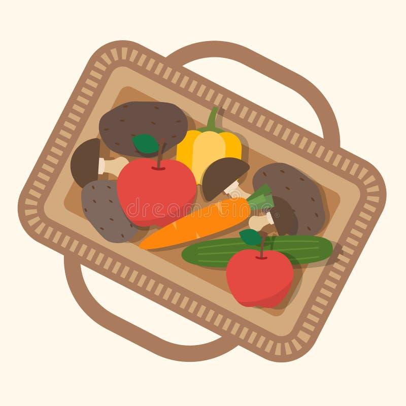 Cesta con la comida, frutas y verduras libre illustration