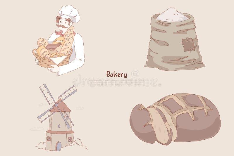 Cesta con la hornada deliciosa, saco de la harina de trigo, molino de viento, pan de centeno cortado, bandera de la tenencia del  stock de ilustración