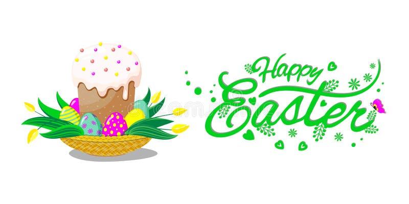 Cesta con la torta, los huevos y las flores de pascua Poner letras a Pascua feliz Ilustración del vector libre illustration