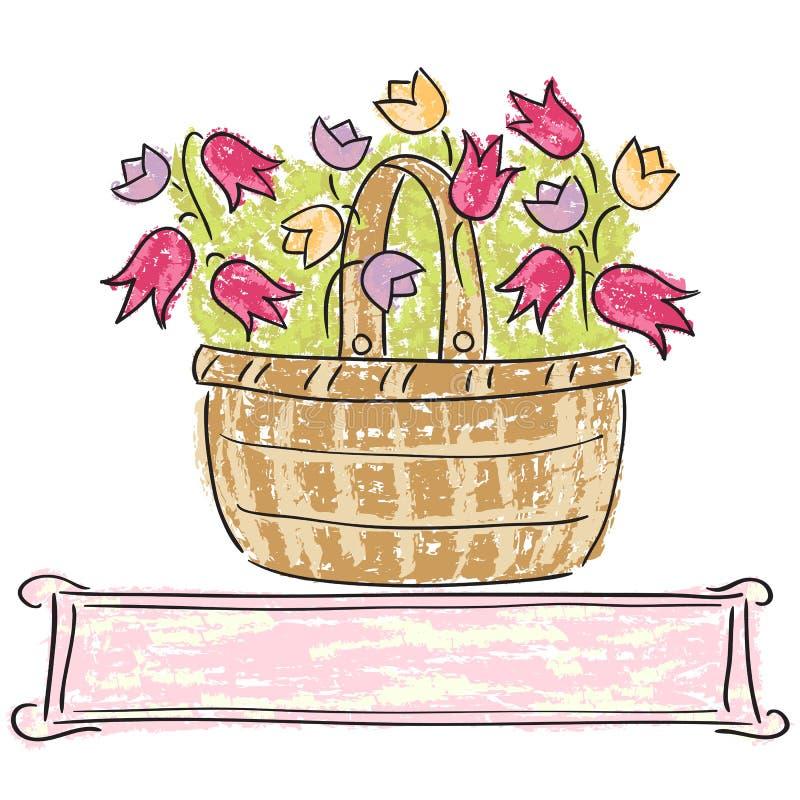 Cesta con las flores stock de ilustración