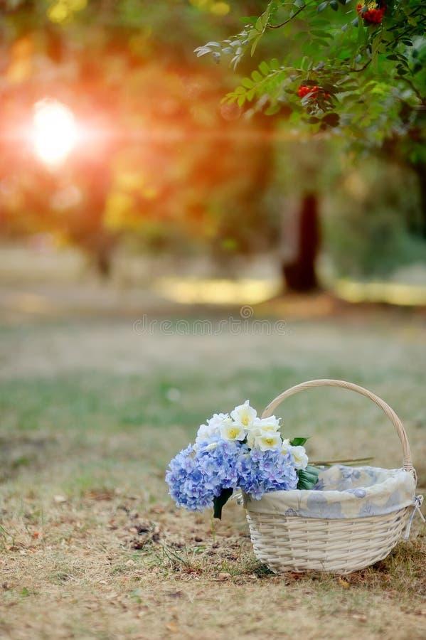 Cesta con las flores fotos de archivo libres de regalías
