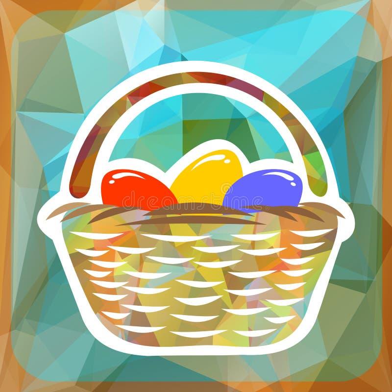 Cesta con los huevos de Pascua ilustración del vector