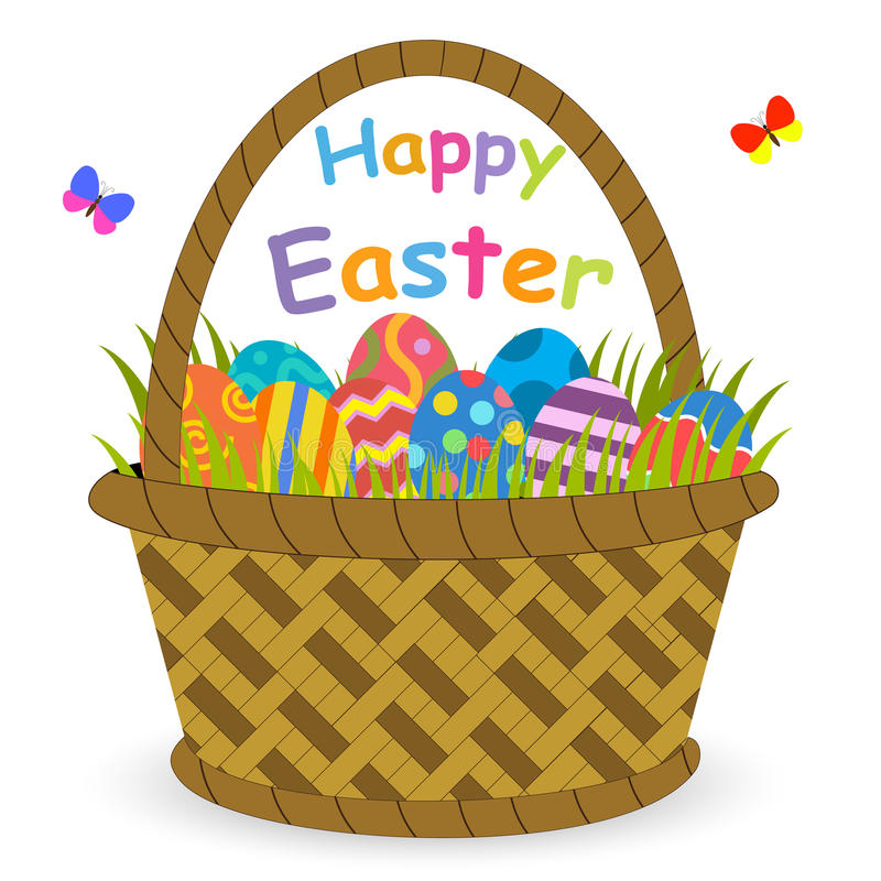 Cesta con los huevos de Pascua stock de ilustración