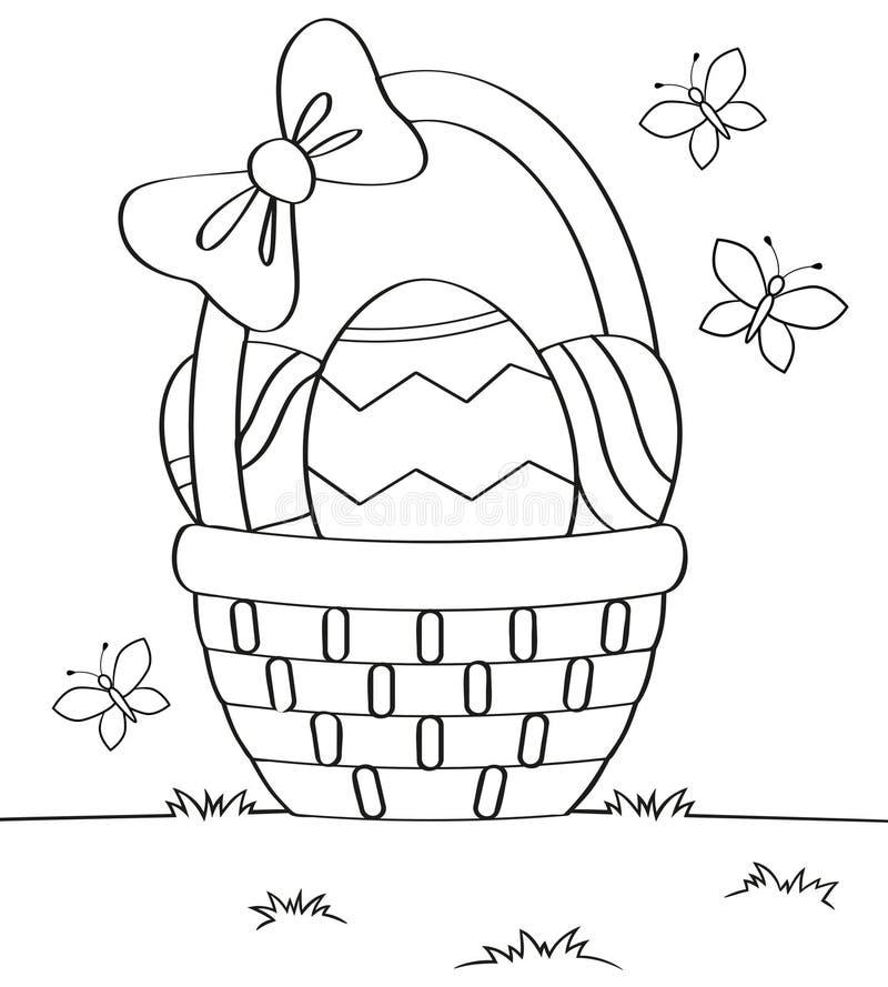 Cesta Con Los Huevos De Pascua Ejemplo Blanco Y Negro Del Vector ...