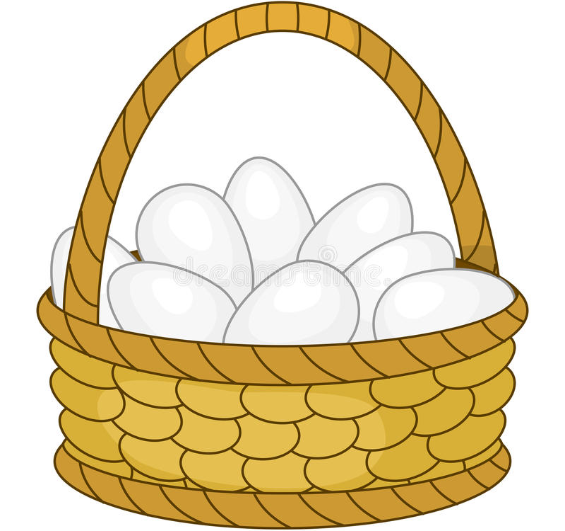 Cesta con los huevos del pollo ilustración del vector