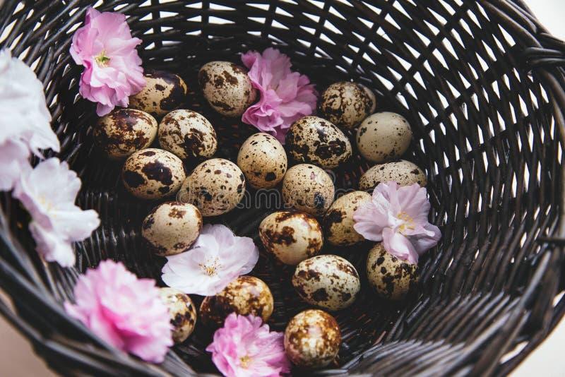 Cesta con los huevos y las flores foto de archivo