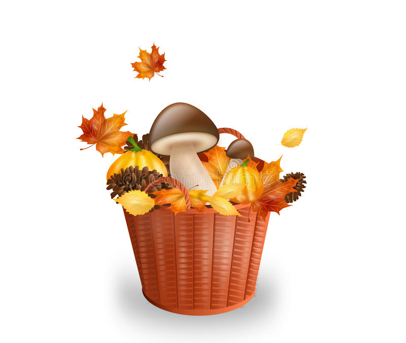 Cesta con los objetos del otoño libre illustration