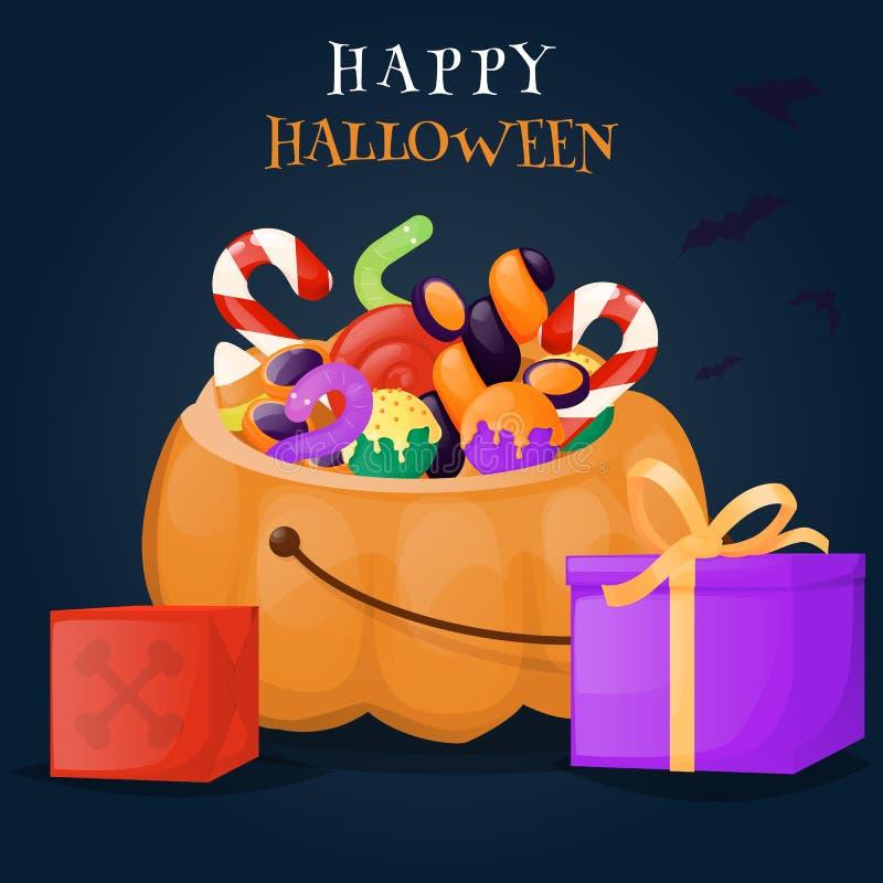 Cesta da abóbora de Dia das Bruxas completamente da ilustração do fundo dos doces e dos doces ilustração do vetor