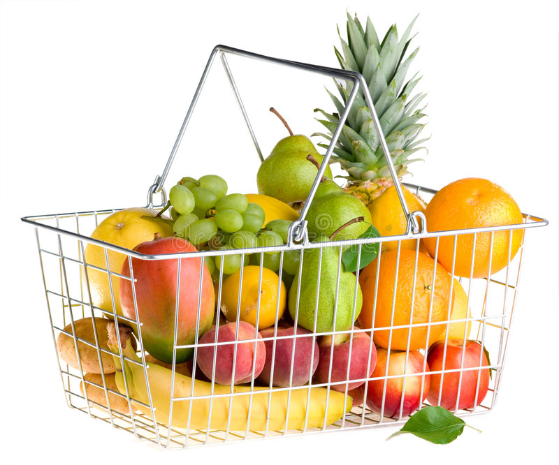Cesta da fruta no branco fotografia de stock royalty free