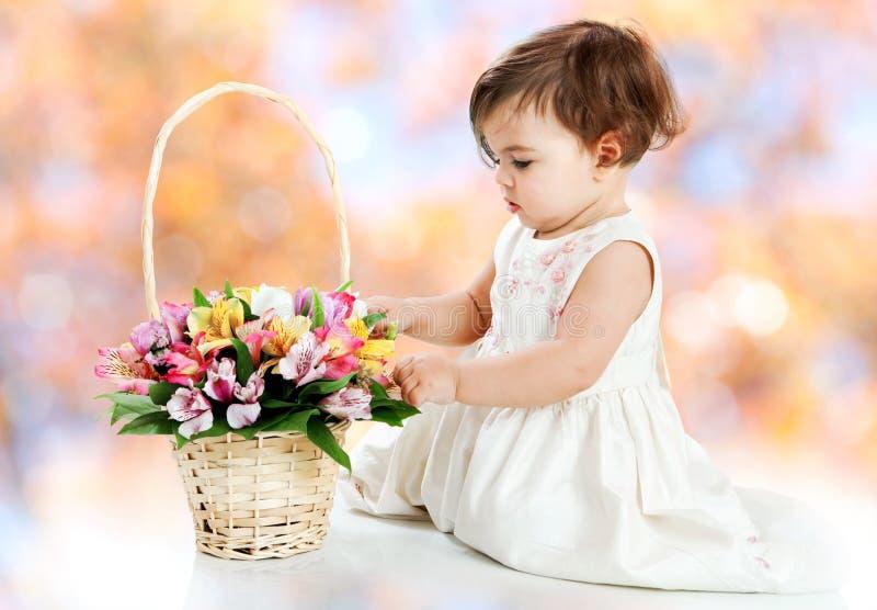 Cesta da menina e da flor foto de stock royalty free