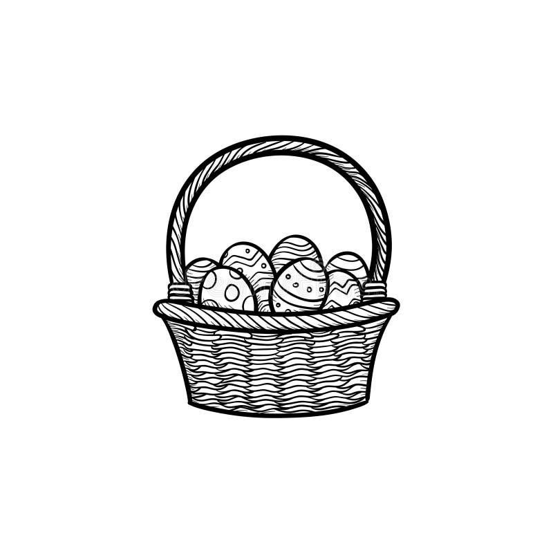 Cesta da Páscoa com ícone tirado da garatuja do esboço dos ovos mão principal ilustração do vetor