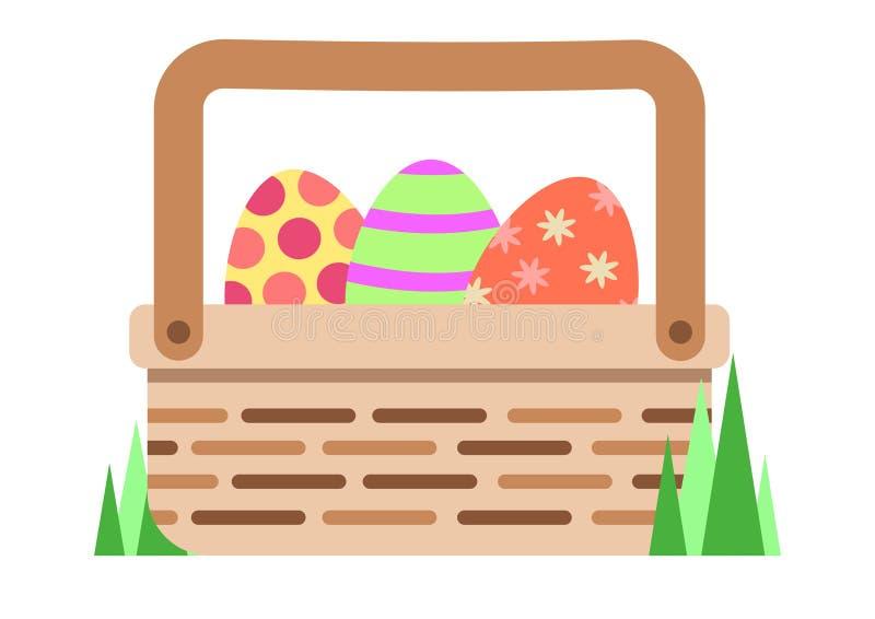 Cesta da Páscoa completamente de ovos pintados ilustração do vetor