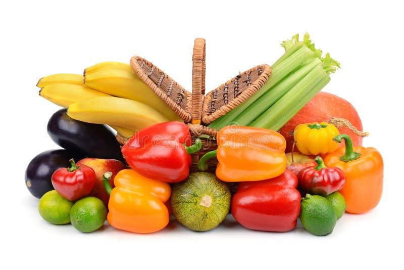 Cesta das frutas e verdura imagens de stock royalty free