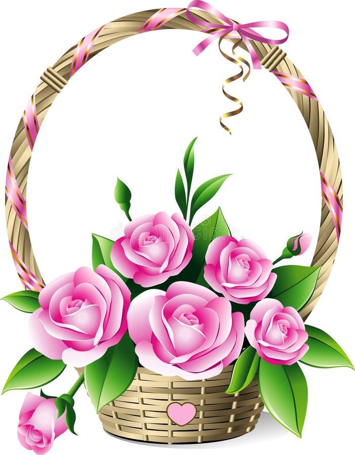 Cesta das rosas ilustração stock