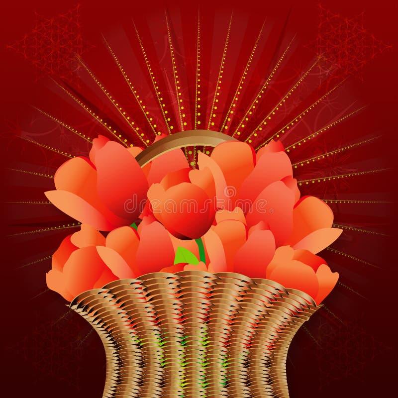 Cesta das tulipas no fundo vermelho ilustração royalty free