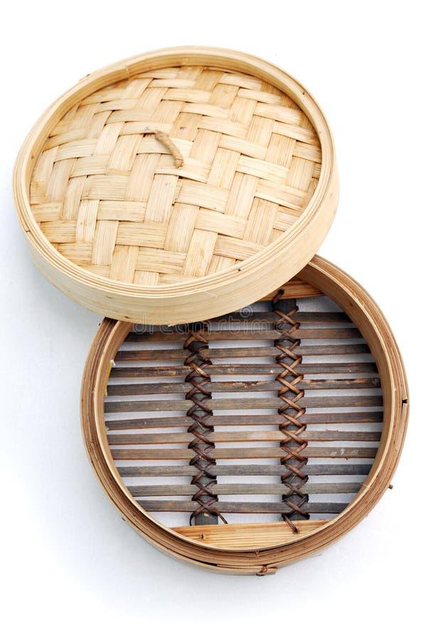 Cesta de bambu do navio do dim sum foto de stock royalty free