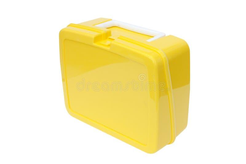Cesta de comida plástica amarela fotografia de stock royalty free