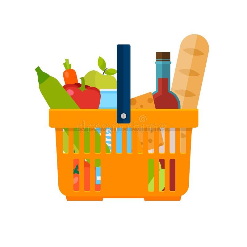 Cesta de compra com alimentos FO frescas e naturais orgânicas saudáveis ilustração royalty free