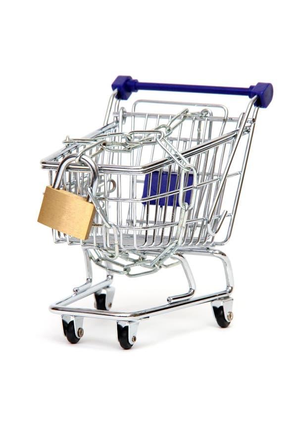 Cesta de compra protegida imagens de stock