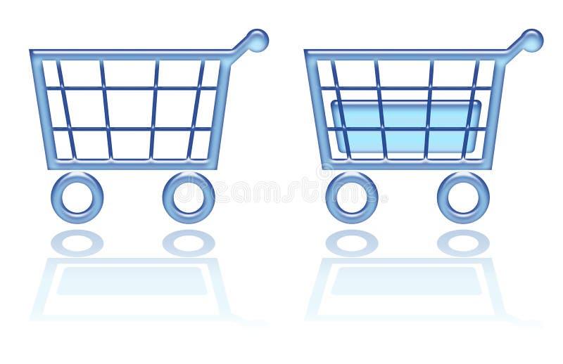Cesta de compra, tecla do carro ilustração stock