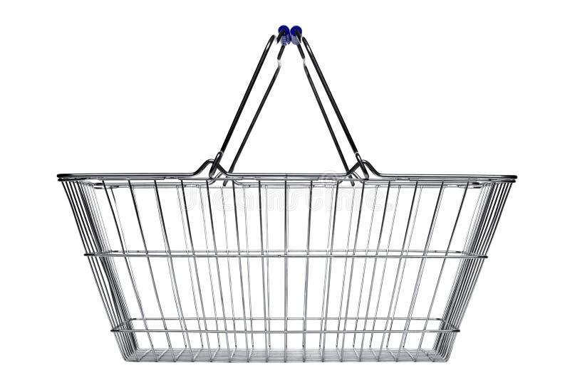 Cesta de compras aislada en blanco imagen de archivo