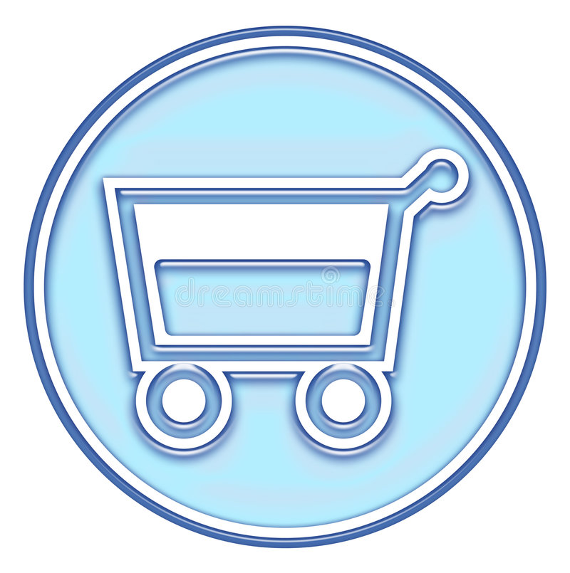 Cesta de compras, botón del carro stock de ilustración