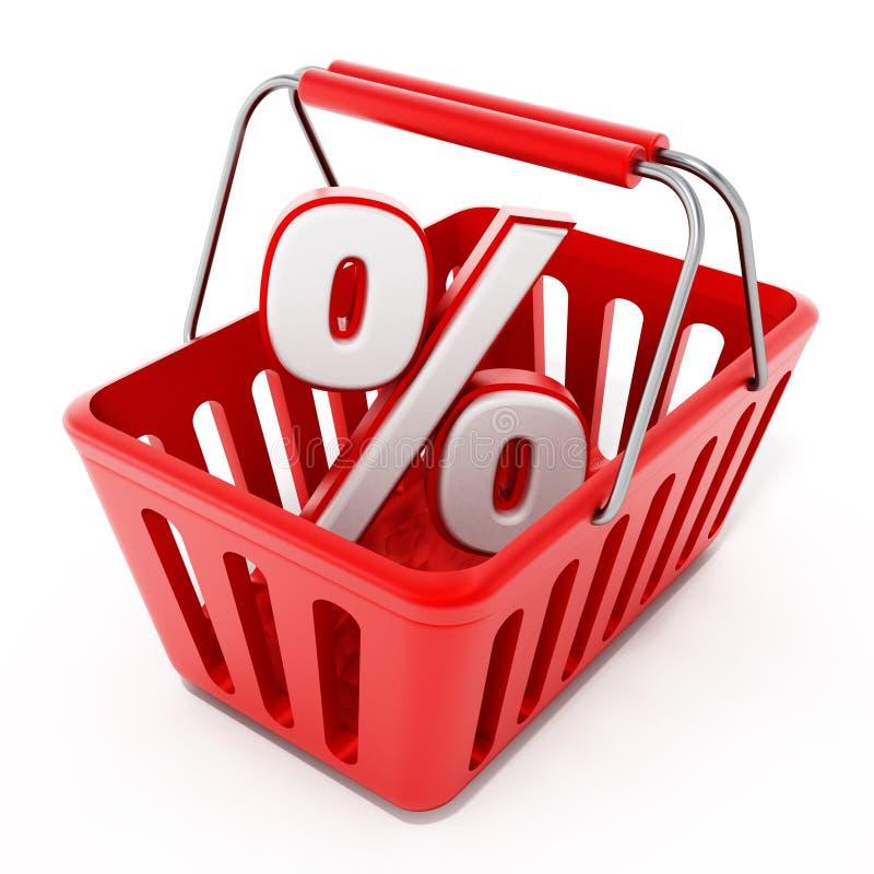Cesta de compras con el icono del porcentaje ilustración del vector