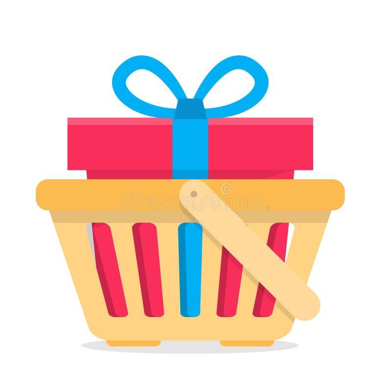 Cesta de compras con el regalo stock de ilustración