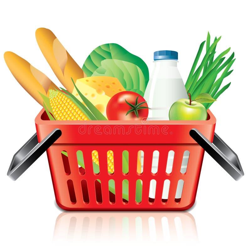 Cesta de compras con la comida aislada en el vector blanco ilustración del vector