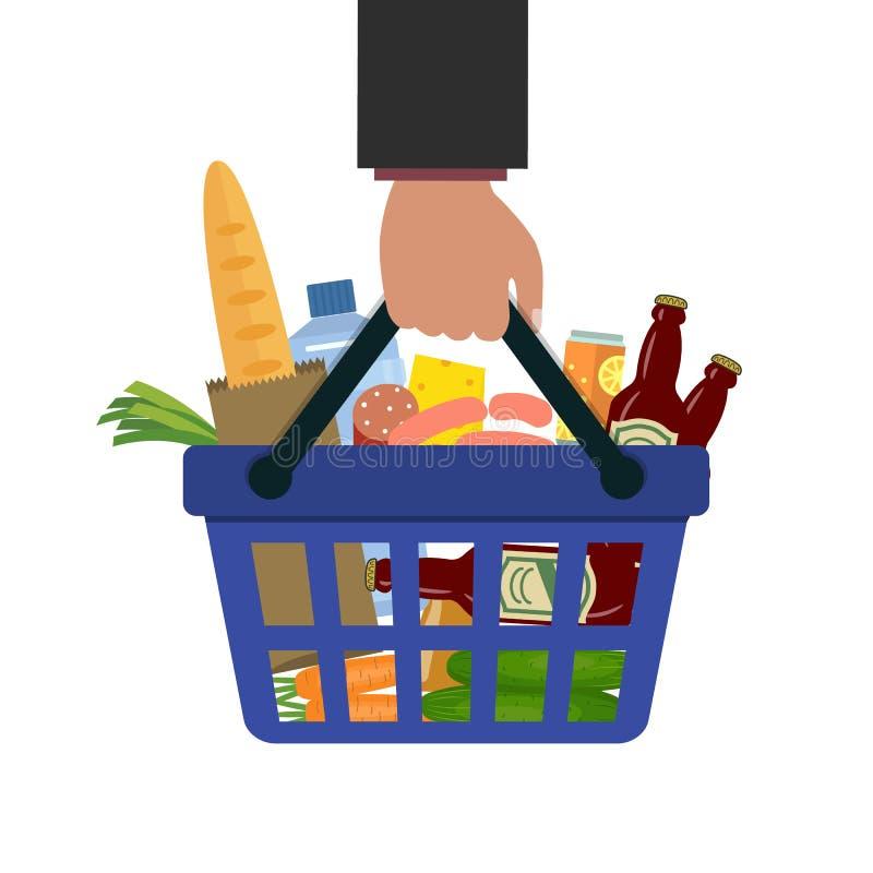 Cesta de compras con la comida y la bebida a disposición libre illustration