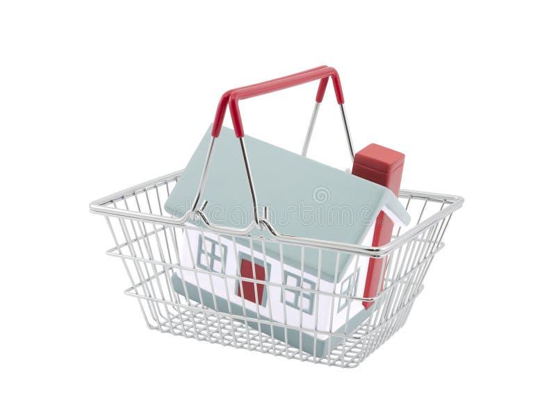 Cesta de compras con la miniatura de la casa stock de ilustración