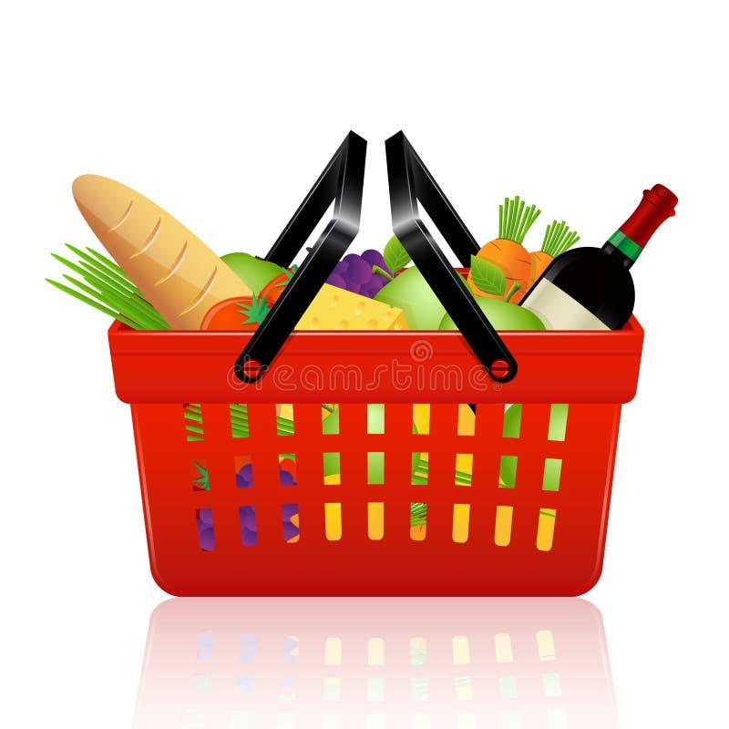 Cesta de compras con las tiendas de comestibles stock de ilustración