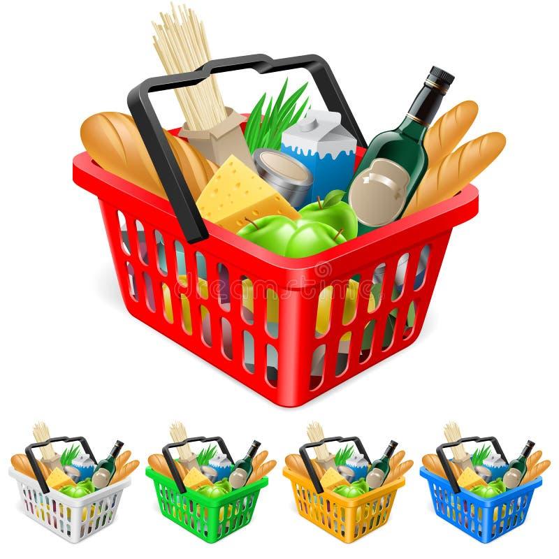 Cesta de compras con los alimentos. libre illustration